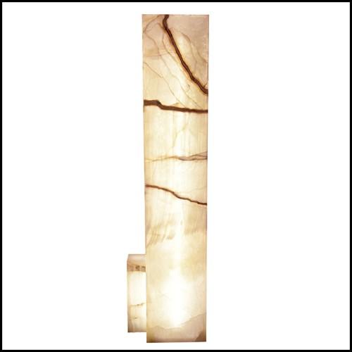 Lampe de table laiton antique et albâtre cylindrique 24-Giorgina
