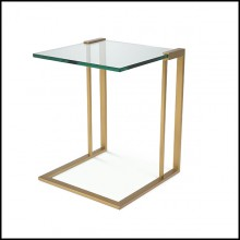 Side Table in brushed brass and clear glass 24-Perry