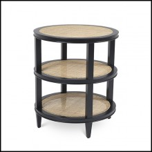 Side Table 3 layer and rattan cane 24-Cocoa