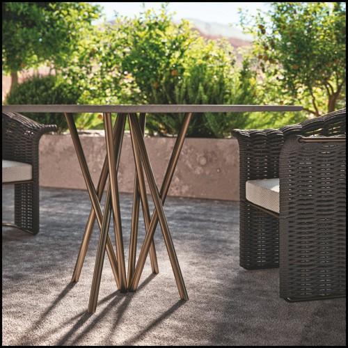 Table d'appoint laiton brossé et verre miroir 24-Narciso