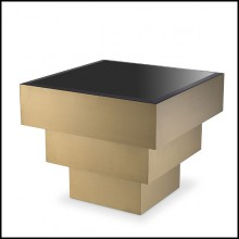 Side Table brushed brass and black bevelled glass 24-Diaz