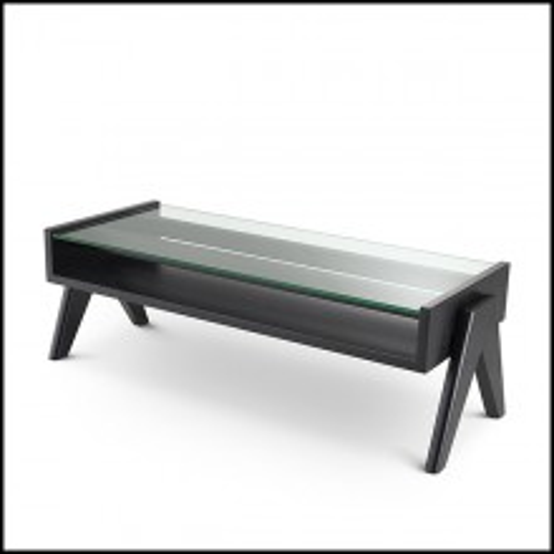 Table basse pieds en V et verre transparent 24-Lionnel