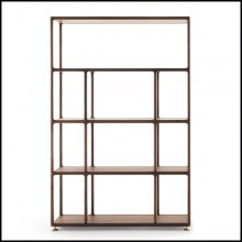 Bookcase in solid walnut and brass feet 163-Wilson