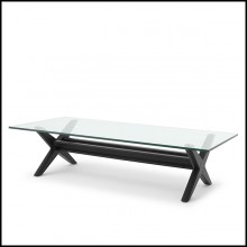 Table basse pieds en X en bois massif finition Classic Noir 24-Maynor Black