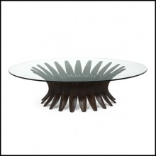 Coffee Table in solid mahogany with tempered glass top 119-Niemeyer