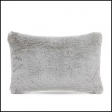 Coussin rectangulaire faux fur gris clair 24-Alaska Light Grey