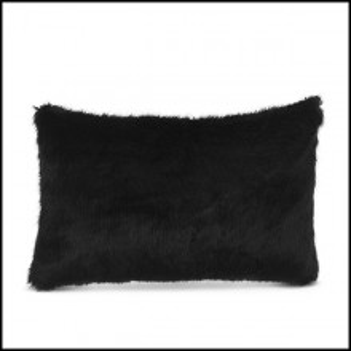 Coussin rectangulaire faux fur noire 24-Alaska Black