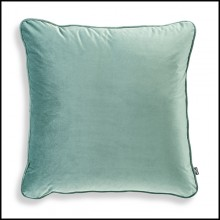 Coussin carrée velours turquoise 24-Roche Turquoise