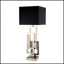 Lampe de table cadres rectangulaires finition nickel,nickel noir et or 24-Regine