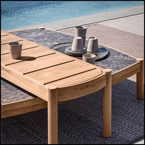 Chaise longue en PCA finition blanc et tissu sparrow 48-Liner White