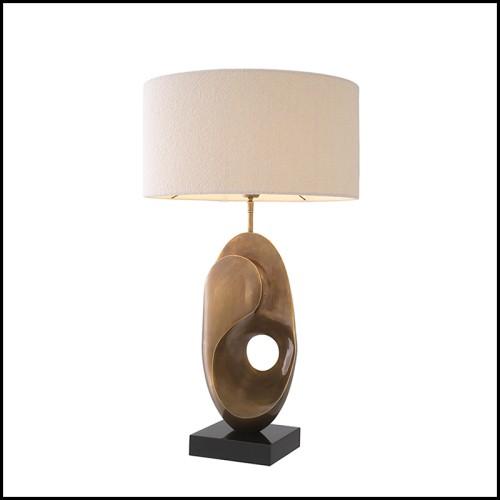 Table basse finition laiton brossé et marbre blanc 24-Grant