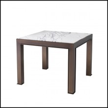 Side Table in medium bronze finish and bianco marble 24-Tardieu L