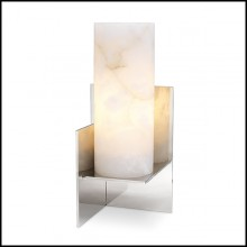 Lampe à poser finition nickel et abat-jour en albâtre 24-Frisco