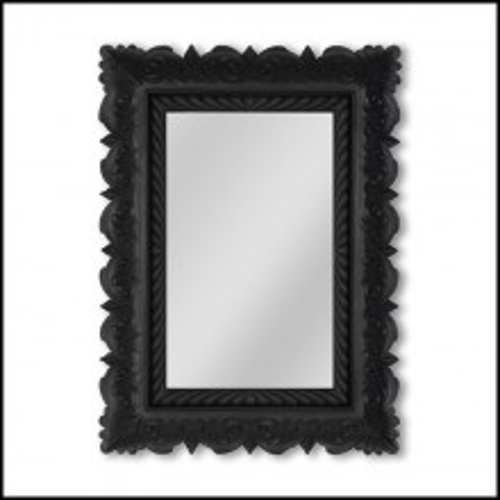 Miroir cadre sculpté black satin et passe-partout décoratif 119-Retrato
