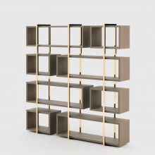 Bookcase with vertical frame in gold finish 174-Escarpe