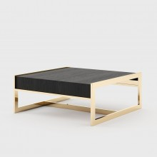 Table basse structure finition or et frêne finition noir 174-Lounge Down