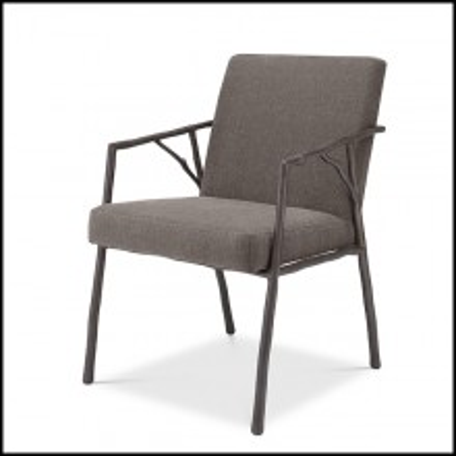 Chaise style branche avec tissu bru gris Abrasia 24-Antico Brown