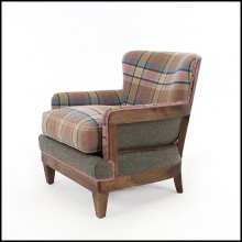Fauteuil en bois massif et tissus tartan 176-Dundee