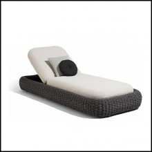 Chaise longue coloris anthracite et tissus salty white 48-Kobo Anthracite