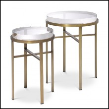 Side Table Set of 2 brass and and ultra-thick glass 24-Hoxton Brass