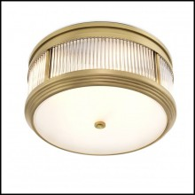 Ceiling lamp with structure in antique brass or nickel or Bronze finish with clear glass and frosted glass 24-Round Corridor