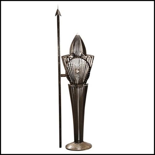 Lampe avec structure finition black et détails finition nickel faits à la main 24-Napoleon