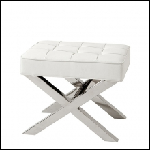 Tabouret avec assise look cuir noir ou look cuir blanc 24-Room