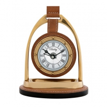 Horloge avec structure finition laiton antique et cuir de buffle beige 24-Bailey Equestrian