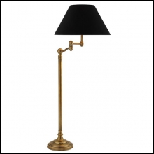 Lampadaire finition laiton antique ou finition nickel avec abat-jours en velours noir 24-Magic Arm
