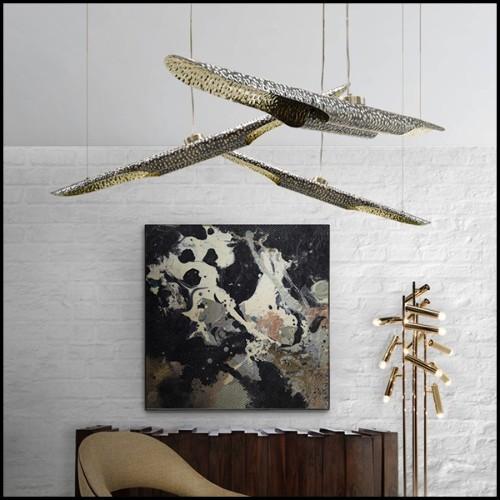 Applique avec structure en laiton et acier inoxydable finition bronze antique 24-HAUSSMANN