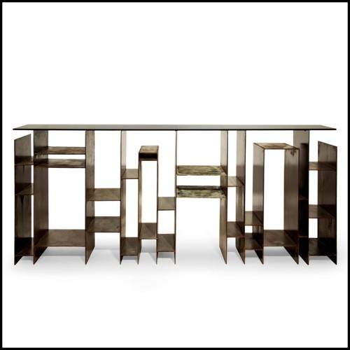 Lanterne avec structure en métal finition zinc verre givré et  poignée en cuir de buffle tané 24-HURRICANE ZINC M