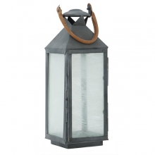 Lanterne avec structure en métal finition zinc verre givré et poignée en cuir de buffle tané 24-HURRICANE ZINC S