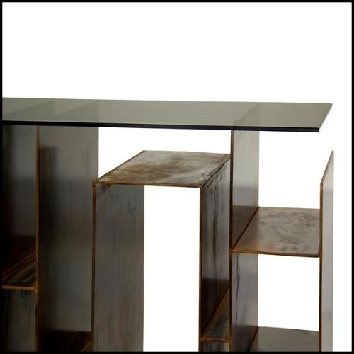 Lanterne avec structure en acier inoxydable finition laiton vieilli et verre clair 24-HURRICANE LAITON L