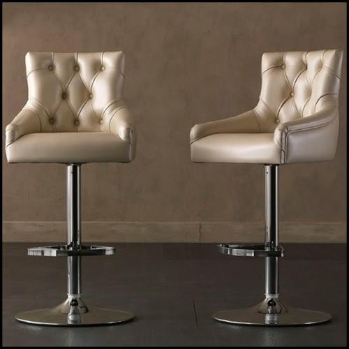 Tabouret haut en résine de LLDPE blanche, résistant aux UVI 111-JAVIER MARISCAL