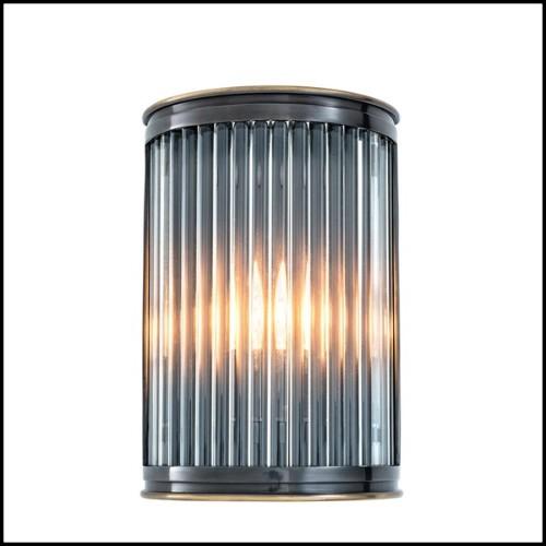 Lanterne avec structure en acier inoxydable finition nickel verre fumé et poignée en cuir de buffle noir 24-IPANEMA
