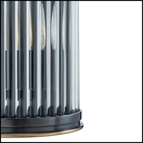 Lanterne avec structure en acier inoxydable finition nickel verre fumé et poignée en cuir de buffle noir 24-IPANEMA MEDIUM