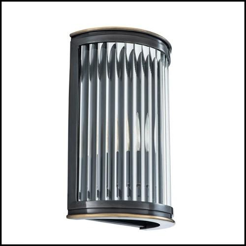 Lanterne avec structure en acier inoxydable finition nickel verre fumé et poignée en cuir de buffle noir 24-IPANEMA SMALL