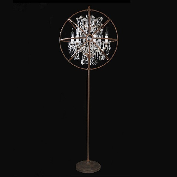 lampadaire en cristal taill finition rouille antique ou. Black Bedroom Furniture Sets. Home Design Ideas