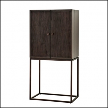 Cabinet bar made with solid mahogany in coffee finish and mahogany veneer 24-DeLaRenta