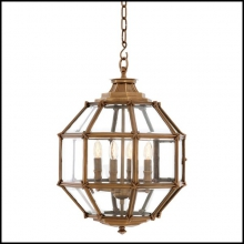 Suspension with vintage brass finish structure and bevelled clear glass 24-Midtown