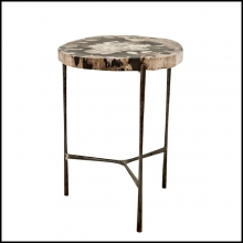 Side Table with petrified wood top on nickel base 24-Boylan