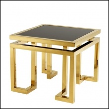 Table d'appoint finition Gold et verre fumé 24-Palmer