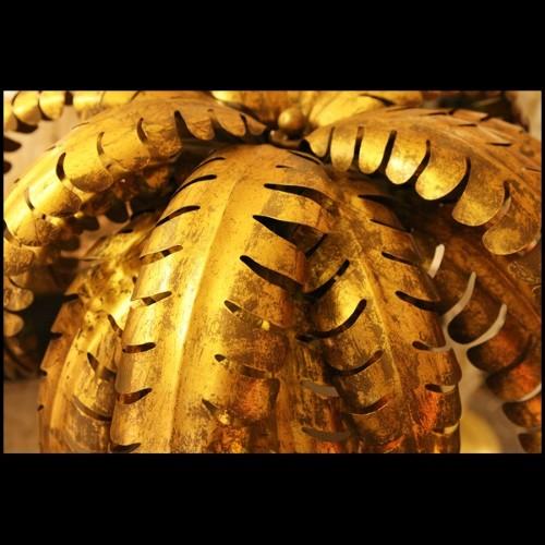 Table d'appoint avec structure finition Gold et plateaux en verre fumé 24-Four Pieces