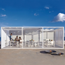 Meridian or pergola structure anodized or powder-coated aluminum with foldable roof and floor 149-Pergola Modulo
