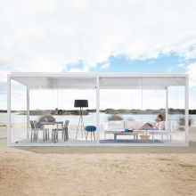 Meridian or Pergola in anodized or lacquered aluminium structure with 4 glass partitions, 1 door 149-Cristal Box