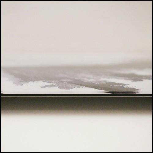 Table de repas avec piétement UgoX en acier et plateau céramique ceinture métal 148-UgoX Céramique 10 blanc