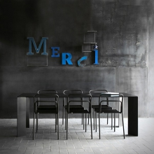 Dining table in steel, dark finish, French manufacture 147-Acier Black