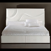 Bed in steel or bronze structure upholstered with grade B leather 150-Riflesso