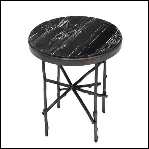 Lit tapissé en cuir catégorie B avec structure en acier ou bronze 150-Soufflè