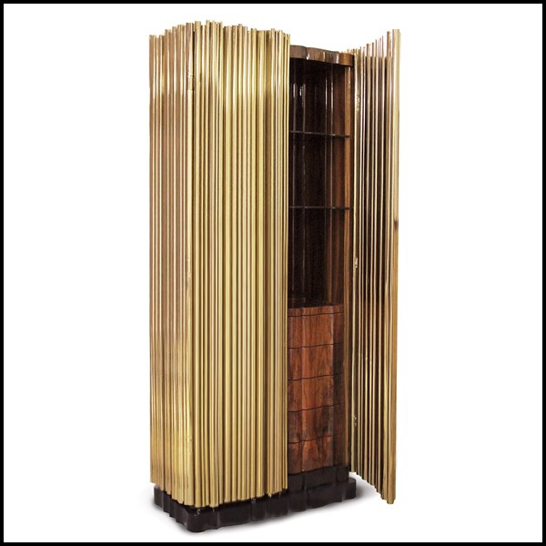 armoire office avec tubes en laiton polis qui enveloppent une structure de bois exotique 145. Black Bedroom Furniture Sets. Home Design Ideas